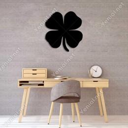 Dört Yapraklı Yonca Çiçeği Duvar Oda Ev Aksesuarı Ahşap Tablo 46x50cm