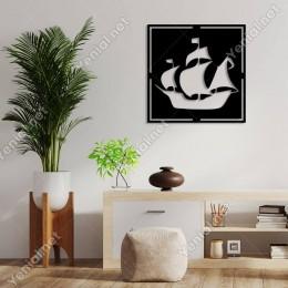 Geometrik Denizde İlerleyen Korsan Gemisi Duvar Aksesuarı Ahşap Tablo 50x50cm