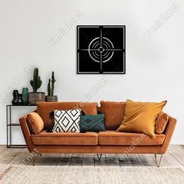 Geometrik Hedef Nişangahı Duvar Oda Ev Aksesuarı Ahşap Tablo 50x50cm