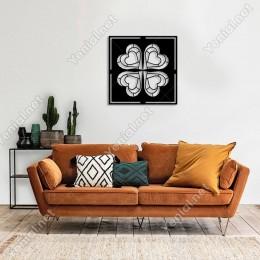 Geometrik İç İçe Kalpli 4 Yapraklı Yonca Duvar Aksesuarı Ahşap Tablo 50x50cm