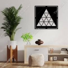 Geometrik İç İçe Üçgen Parçalı Detaylı Duvar Ev Aksesuarı Ahşap Tablo 50x50cm