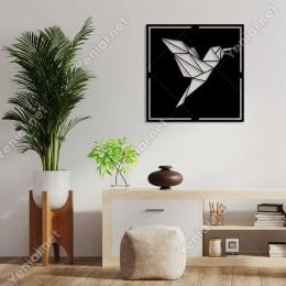 Geometrik Kanat Çırpan Sinek Kuşu Duvar Oda Ev Aksesuarı Ahşap Tablo 50x50cm