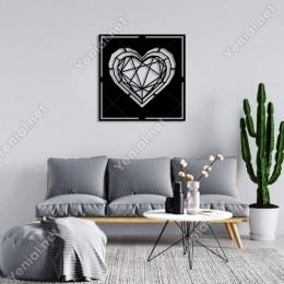 Geometrik Parçalı İç İçe Kalp Duvar Oda Ev Aksesuarı Ahşap Tablo 50x50cm
