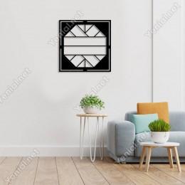 Geometrik Parçalı Olan Geometrik Form Duvar Oda Aksesuarı Ahşap Tablo 50x50cm