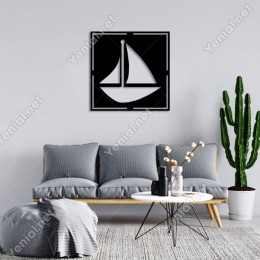 Geometrik Sağa Dönük Gemi Duvar Oda Ev Aksesuarı Ahşap Tablo 50x50cm