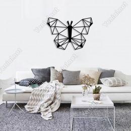 Geometrik Simetrik Kanatlı Kelebek Duvar Oda Ev Aksesuarı Ahşap Tablo 50x35cm