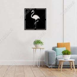 Geometrik Sola Dönük Flamingo Duvar Oda Ev Aksesuarı Ahşap Tablo 50x50cm