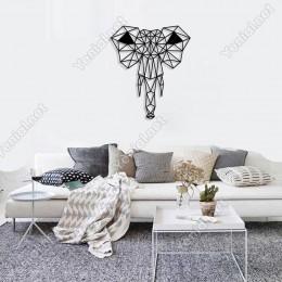 Geometrik Vahşi Doğa Fil Kafası Duvar Oda Ev Aksesuarı Ahşap Tablo 42x50cm