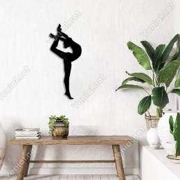Havada Cimnastik Yapan Kız Spor Duvar Ev Aksesuarı Ahşap Tablo 21x50cm