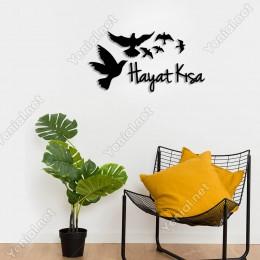 Hayat Kısa Yazısı ve Kuşlar Duvar Oda Ev Aksesuarı Ahşap Tablo 50x26cm