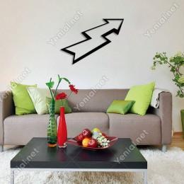 Kalın Kontürlü Zikzak Ok İşareti Duvar Oda Ev Aksesuarı Ahşap Tablo 50x35cm