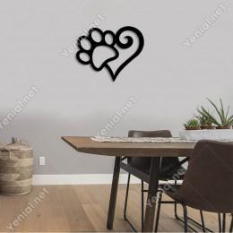 Kalpli Kedi Köpek Pati Süsleme Duvar Oda Ev Aksesuarı Ahşap Tablo 50x40cm