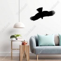 Kanatlarını Açmış Uçan Baykuş Duvar Oda Ev Aksesuarı Ahşap Tablo 50x26cm