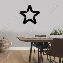 Kesik Efektli Detaylı Yıldız Duvar Oda Ev Aksesuarı Ahşap Tablo 50x47cm