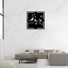 Seranad Yapan Kuş ve Love Yazısı Duvar Oda Ev Aksesuarı Ahşap Tablo 50x50cm