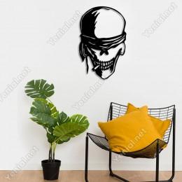 Skull Kurukafa Duvar Oda Ev Aksesuarı Ahşap Tablo 33x50cm