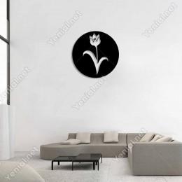 Tohumları Açmış Lale Çiçek Motifi Duvar Oda Ev Aksesuarı Ahşap Tablo 50x50cm