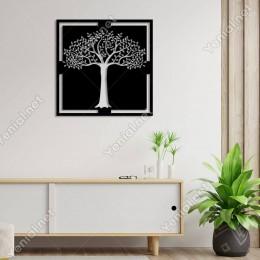 Uzun Gövdeli Bol Yapraklı Ağaç Motifi Duvar Oda Aksesuarı Ahşap Tablo 50x50cm