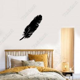 Yan Yatık Bir Tane Kuş Tüyü Duvar Oda Ev Aksesuarı Ahşap Tablo 44x50cm