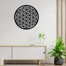Yaşam Çiçeği Kutsal Geometri Duvar Oda Ev Aksesuarı Ahşap Tablo 50x50cm