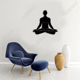 Yoga Yapan Erkek Figürü Duvar Oda Ev Aksesuarı Ahşap Tablo 50x47cm