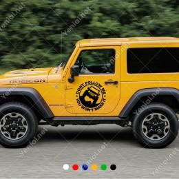 Dont Follow Me 4x4 Army Jeep Sticker Yapıştırma Araba Sticker, Oto Sticker, Araba Çıkartmaları, Jeep için Aksesuarlar, 4X4 Sticker, Laptop ve Duvar için