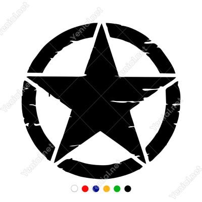 Askeri Yıldız Army Star Off Road Jeep Sticker Çıkartma Araba Sticker, Oto Sticker, Araba Çıkartmaları, Jeep için Aksesuarlar, 4X4 Sticker, Laptop ve Duvar için