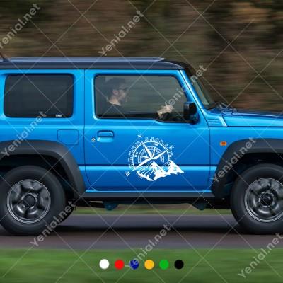 Pusula Dağ Off Road Oto Sticker, Araba Sticker Yapıştırma Araba Sticker, Oto Sticker, Araba Çıkartmaları, Jeep için Aksesuarlar, 4X4 Sticker, Laptop ve Duvar için