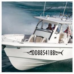 Kişiye ve Tekneye Özel Kayıt Sayılar Yazısı İsim Sticker 115x50cm