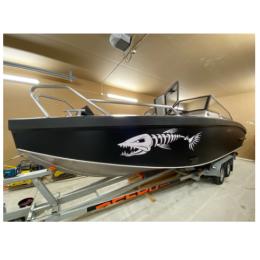 Kişiye ve Tekneye Özel  Balık Kemik  Yazısı İsim Sticker 115x50cm