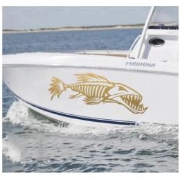 Kişiye ve Tekneye Özel  Balık Kemik Sarma  Yazısı İsim Sticker 115x50cm