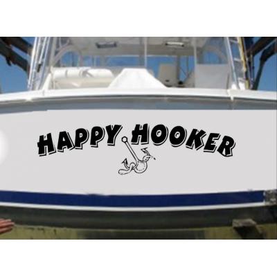 Kişiye ve Tekneye Özel Happy Hooker  Yazısı İsim Sticker 115x50cm