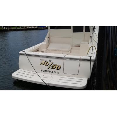 Kişiye ve Tekneye Özel 50/50  Yazısı İsim Sticker 115x50cm