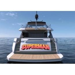 Kişiye ve Tekneye Özel Süperman Yazısı İsim Sticker 115x50cm