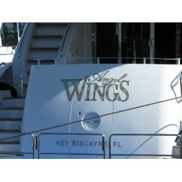 Kişiye ve Tekneye Özel Angel Wings  Yazısı İsim Sticker 115x50cm