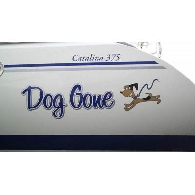 Kişiye ve Tekneye Özel Dog Gone Yazısı İsim Sticker 115x50cm