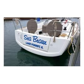 Kişiye ve Tekneye Özel Sea Beaux Yazısı İsim Sticker 115x50cm