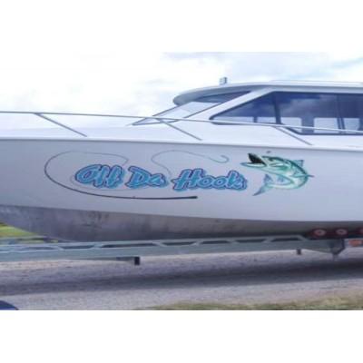 Kişiye ve Tekneye Özel Off Do Hook Yazısı İsim Sticker 115x50cm