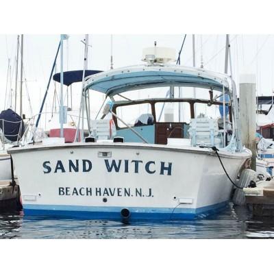 Kişiye ve Tekneye Özel Sand Witch Yazısı İsim Sticker 115x50cm