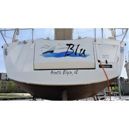 Kişiye ve Tekneye Özel Blu Yazısı İsim Sticker 115x50cm