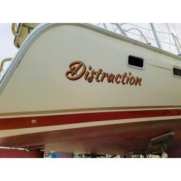 Kişiye ve Tekneye Özel Distraction Yazısı İsim Sticker 115x50cm