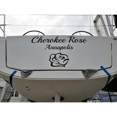 Kişiye ve Tekneye Özel Cherokee Rose Yazısı İsim Sticker 115x50cm