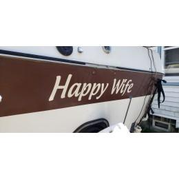 Kişiye ve Tekneye Özel Happy Wife  Yazısı İsim Sticker 115x50cm