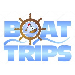 Kişiye ve Tekneye Özel Boat Trips  Yazısı İsim Sticker 115x50cm