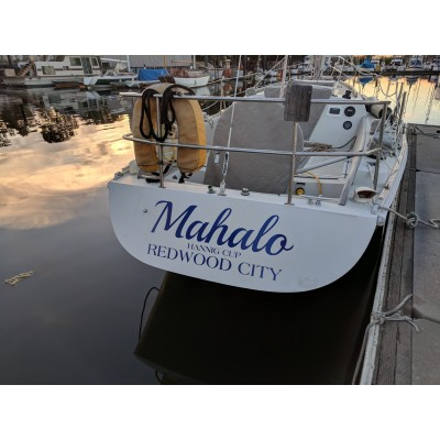 Kişiye ve Tekneye Özel Mahalo Yazısı İsim Sticker 115x50cm
