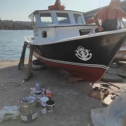 Tekneye Özel Deniz Çapası ve Köpekbalığı Sticker Yapıştırma 100x76cm