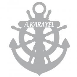 Kişiye Özel A.Karayel Tekne Yat Deniz Çapası Sticker Yapıştırma 100x89cm