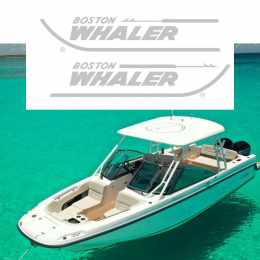 Kişiye Tekneye Özel Boston Whaler Logosu Yazısı ve Sticker Yapıştırma 100x40cm