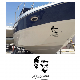 Kişiye Tekneye Yatlara Özel Atatürk Ve İmzası Logo Yazısı Sticker Yapıştırma 100x20cm