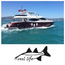 Kişiye Tekneye Yatlara Özel Fish Reel Life  Logo Yazısı Sticker Yapıştırma 100x20cm